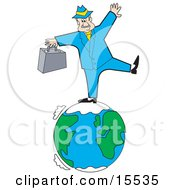 Caucasian Businessman Carrying A Briefcase And Standing On One Leg While Trying To Maintain Balance While Standing On The Earth Clipart Illustration