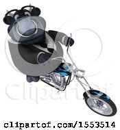 Clipart Of A 3d Black Business Bull Biker Riding A Chopper Motorcycle On A White Background Royalty Free Illustration