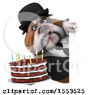 Clipart Of A 3d Gentleman Or Business Bulldog Holding A Birthday Cake On A White Background Royalty Free Illustration
