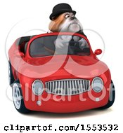 Clipart Of A 3d Gentleman Or Business Bulldog Driving A Convertible On A White Background Royalty Free Illustration