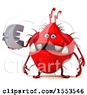 Clipart Of A 3d Red Germ Monster Holding A Euro On A White Background Royalty Free Illustration