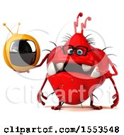 Clipart Of A 3d Red Germ Monster Holding A Tv On A White Background Royalty Free Illustration