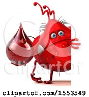 Clipart Of A 3d Red Germ Monster Holding A Blood Drop On A White Background Royalty Free Illustration