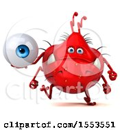 Clipart Of A 3d Red Germ Monster Holding An Eye On A White Background Royalty Free Illustration