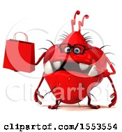 3d Red Germ Monster Holding A Shopping Bag On A White Background