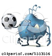 Clipart Of A 3d Blue Germ Monster Holding A Soccer Ball On A White Background Royalty Free Illustration