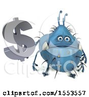 Poster, Art Print Of 3d Blue Germ Monster Holding A Dollar Sign On A White Background
