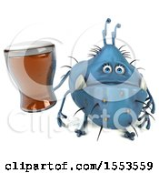Clipart Of A 3d Blue Germ Monster Holding A Beer On A White Background Royalty Free Illustration