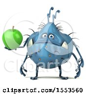 Clipart Of A 3d Blue Germ Monster Holding An Apple On A White Background Royalty Free Illustration