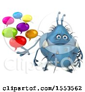 3d Blue Germ Monster Holding Messages On A White Background