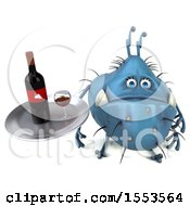 Clipart Of A 3d Blue Germ Monster Holding Wine On A White Background Royalty Free Illustration