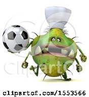 Clipart Of A 3d Green Germ Chef Monster Holding A Soccer Ball On A White Background Royalty Free Illustration