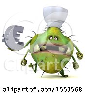 Clipart Of A 3d Green Germ Chef Monster Holding A Euro On A White Background Royalty Free Illustration
