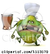 Clipart Of A 3d Green Germ Chef Monster Holding A Beer On A White Background Royalty Free Illustration