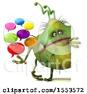 Clipart Of A 3d Green Germ Monster Holding Messages On A White Background Royalty Free Illustration