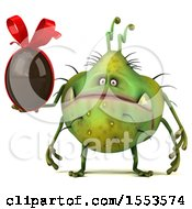 Clipart Of A 3d Green Germ Monster Holding A Chocolate Egg On A White Background Royalty Free Illustration