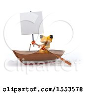 3d Yellow Frog In A Boat On A White Background