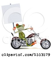 3d Green Frog Riding A Chopper Motorcycle On A White Background