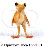 3d Fat Yellow Frog On A White Background