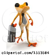 3d Yellow Business Frog On A White Background