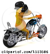 3d Yellow Frog Biker Riding A Chopper Motorcycle On A White Background