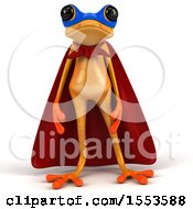 3d Yellow Super Frog On A White Background