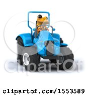 3d Yellow Frog Operating A Tractor On A White Background