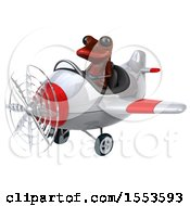 3d Red Frog Flying A Plane On A White Background