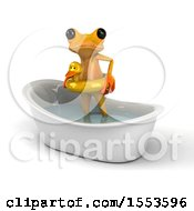 3d Yellow Frog Wearing An Inner Tube In A Bath Tub On A White Background