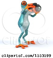 3d Blue Frog Holding A Camera On A White Background