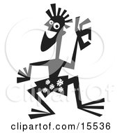 Silhouetted Surfer Dude Wearing Floral Shorts And Waving On The Beach Clipart Illustration
