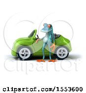 3d Blue Frog By A Convertible On A White Background
