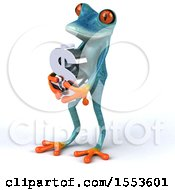 Poster, Art Print Of 3d Blue Frog Holding A Dollar Sign On A White Background