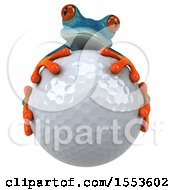3d Blue Frog Hugging A Golf Ball On A White Background