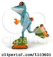 3d Blue Frog Roller Blading On A White Background