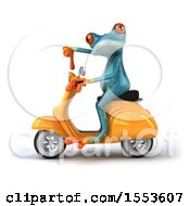 Clipart Of A 3d Blue Frog Riding A Scooter On A White Background Royalty Free Illustration