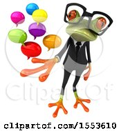 Clipart Of A 3d Green Business Frog Holding Messages On A White Background Royalty Free Illustration