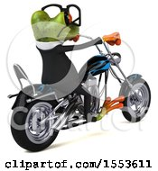 Clipart Of A 3d Green Business Frog Riding A Chopper Motorcycle On A White Background Royalty Free Illustration