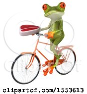 Clipart Of A 3d Green Frog Riding A Bike And Holding A Steak On A White Background Royalty Free Illustration