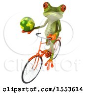 Clipart Of A 3d Green Frog Riding A Bike And Holding A Globe On A White Background Royalty Free Illustration