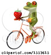 Clipart Of A 3d Green Frog Riding A Bike And Holding A Strawberry On A White Background Royalty Free Illustration