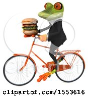3d Green Business Frog Riding A Bike And Holding A Burger On A White Background