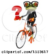 Clipart Of A 3d Green Business Frog Riding A Bike And Holding A Question Mark On A White Background Royalty Free Illustration