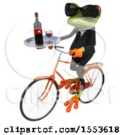 Clipart Of A 3d Green Business Frog Riding A Bike And Holding A Wine Tray On A White Background Royalty Free Illustration