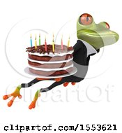 Clipart Of A 3d Green Business Frog Holding A Birthday Cake On A White Background Royalty Free Illustration