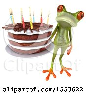 Clipart Of A 3d Green Frog Holding A Birthday Cake On A White Background Royalty Free Illustration