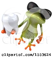 Clipart Of A 3d Green Frog Holding A Tooth On A White Background Royalty Free Illustration