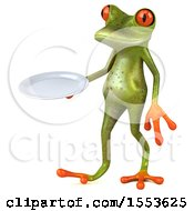 Clipart Of A 3d Green Frog Holding A Plate On A White Background Royalty Free Illustration