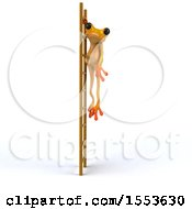 Clipart Of A 3d Yellow Frog Hanging On A Ladder On A White Background Royalty Free Illustration