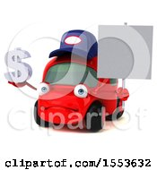 Poster, Art Print Of 3d Red Mechanic Car Holding A Dollar Sign On A White Background